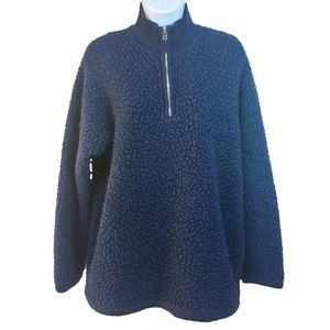 J Crew Knobby Knit Sweater Wool Zip Front Navy Lg